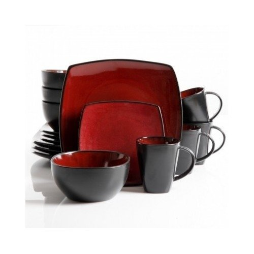 Square Dinnerware Service for 8, Plates Bowls Mugs, 32-Piece Set, Modern Red & Black (Black Red Dishes And)
