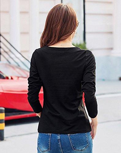 Automne Unie Manches Printemps Slim Chemisiers Jumpers T Couleur et Tees Femmes Casual New Blouse Tops Shirts Hauts Longues Noir taxgxv