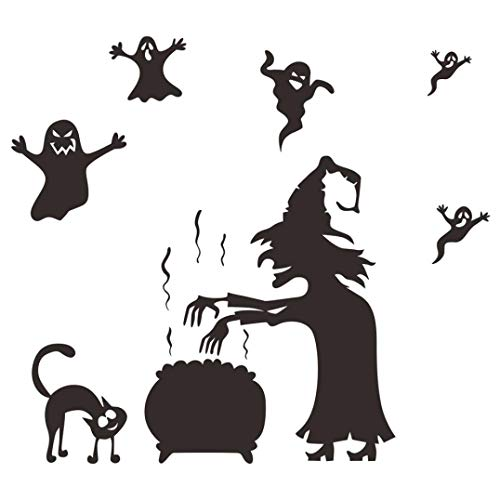 Rumas DIY Witch Wall Stickers Scary - Halloween Decoration Decals - Waterproof Wall Murals Peel & Stick - Home Decor for Kids Room Bedroom Bathroom Kitchen TV Background (Black)