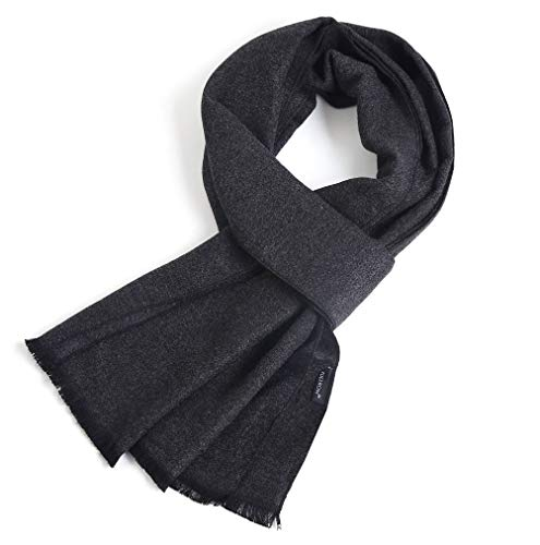 - FULLRON Men Winter Cashmere Scarf, Dark Grey Cotton Scarves for Men