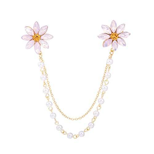 OBONNIE Women Baby Pink CZ Rhinestone Gold Tone Daisy Flower Pin Brooch with Pearl Chain Collar (Pearl Daisy)