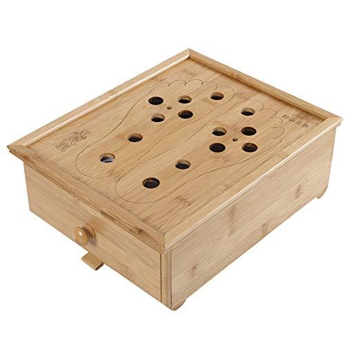 (Ibnotuiy Bamboo Foot Moxibustion Box Comfortable Durable Foot Massage Moxa for Foot Relax)