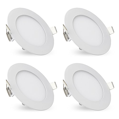 [Pack of 4]eSavebulbs 9W Round LED Panel Light Lamp,6000K Daylight,Ultra-thin Recessed Ceiling Light,Cut Hole 4.17 Inch, Downlight with LED Driver