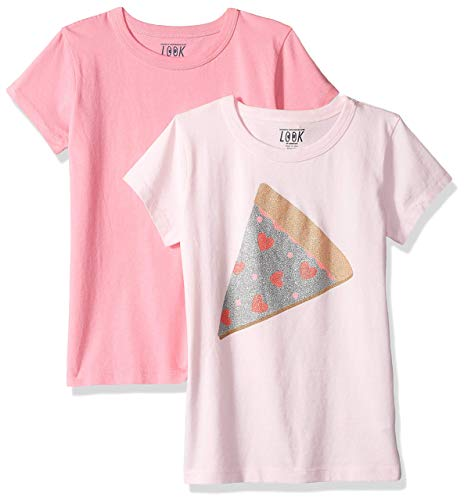 (LOOK by Crewcuts Girls' 2-Pack Graphic/Solid Short Sleeve T-Shirt, Glitter Pizza/Pink, Small (6/7))