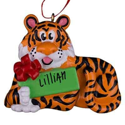 Christmas Tiger Personalized Ornament - (Unique Christmas Tree Ornament - Classic Decor for A Holiday Party - Custom Decorations for Family Kids Baby Military Sports Or Pets)