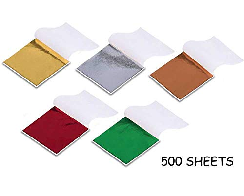 500 Sheets Imitation Gold Leaf for Arts, Gilding Crafting, Decoration, Furniture, 3.5 by 3.5 Inches(5 Colors) ()
