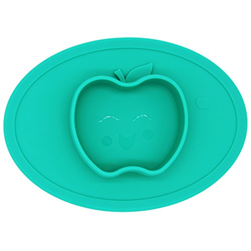 Silicone Baby Placemat Bowl-Highchair Feeding Tray Round Suction plate for Kids Toddlers Kitchen Dining Table with Built in Bowl, Weaning travel Bowl for Children 2017 NEW (Forest Green2)