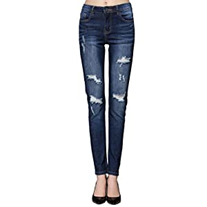 ZLZ Butt Lift Skinny Jeans, Women's Casual Destroyed Ripped Distressed Stretch Jeans Legging.