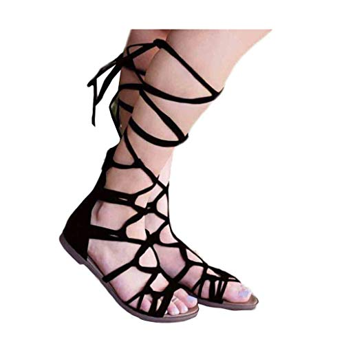 BEAUTYVAN Sandals for Women Cut Out Gladiator Flat Lace up Suede Knee High Strappy Size Black