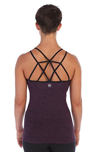 American Fitness Couture Womens Strappy Lattice Back Workout Top Built in Sports Bra, Heather Violet Lg by American Fitness Couture