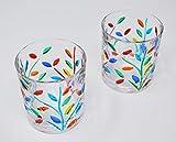 Venetian Glass Small Glasses, Flowervine Pattern, Set of 2 - Handmade Glass from Italy