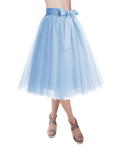 DRESSTELLS Knee Length Tulle Skirt Tutu Skirt Evening Party Gown Prom Formal Skirts Blue M-L (Blue Tulle Dress Womens)