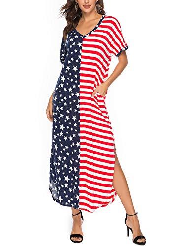 (BBYES Women 4th July American Flag Stars Stripes Print Casual Short Sleeve Long Maxi Kaftan Dress XL Red)