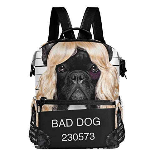 (MOBEITI Diva Lady Girl Dog Posing Lovely Laptop Backpack Leather Strap School Bag Outdoor Travel Casual Daypack )