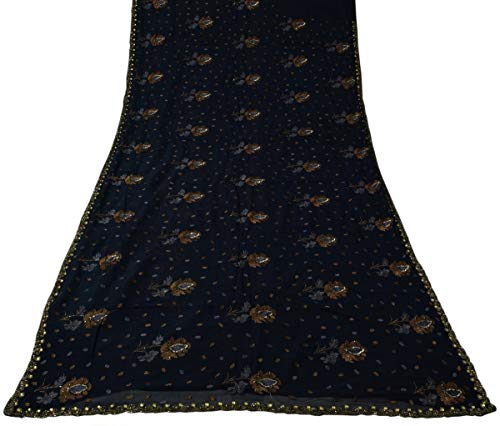 Vintage Indian Saree 100% Pure Chiffon Silk Beaded Embroidered Sari Fabric Blue