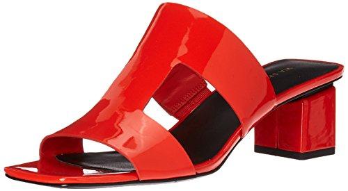 Via Spiga Women's Florence Block Heel Slide Sandal, Hot Orange Patent, 7.5 Medium (Orange Patent Sandals)