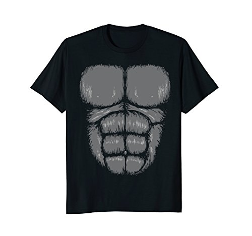 Gorilla Chest T-Shirt, funny big print, costume shirt, abs