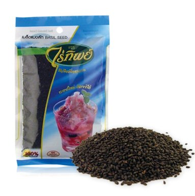 Basil Seed (500g.) By Raitip. Seeds for Weight Loss, Weight Control Product of Thailand (Original Version) (Original - Fiber Bubble Clear