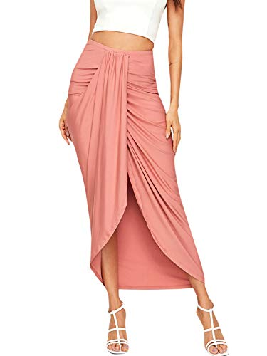 SheIn Women's Casual Slit Wrap Asymmetrical Elastic High Waist Maxi Draped Skirt Large Pink