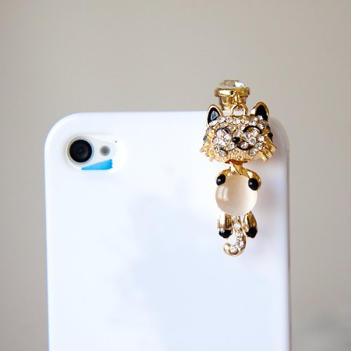 CJB Dust Plug / Earphone Jack Accessory Smiling Cat Beige Stone for iPhone 4 4S S4 5 All Device with 3.5mm Jack
