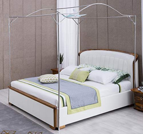 (Mengersi Bedding Canopy Bed Frame Post,White (Twin, Silver-Arched))
