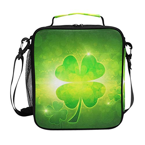 Durable Insulated Lunch Box,Black Green Clover Tote Reusable Cooler Bag LARGER Greater Storage Waterproof Grocery Bag to School Office Work]()