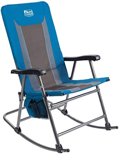 Timber Ridge Rocking Chair Folding Padded Patio Lawn Reclining Camping with Armrest and Side Storage Bag, Blue