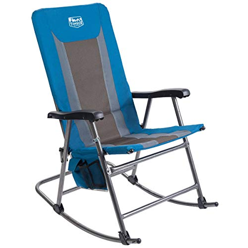 Timber Ridge Rocking Chair Folding Padded Patio Lawn Reclining Camping with Armrest and Side Storage Bag