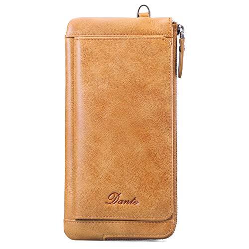 (Belsmi Unisex Womens Mens RFID Blocking Genuine Leather Wallet Long Purse Zipper Pocket Luxury Clutch Bifold Wallets (Brown))