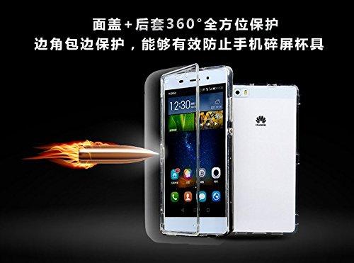 Vandot 1x Exclusivo Airbag 0.7mm Case ultra fina delgada prueba de golpes transparente TPU para Huawei P8 5.2 pulgadas caso de la piel suave del gel cristalino claro silicona cubierta del protector de Flip Blanca