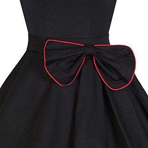 BYD Mujeres Retro Vestidos sin Manga Corte Imperio Elegante Vintage Arco Vestido Verano Negro