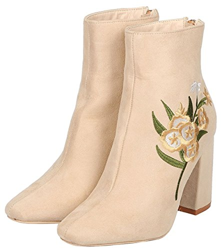 Chunky Toe Women's CAPE Ankle Beige Heel Embroidered Bootie Closed ROBBIN Stacked qfpR7