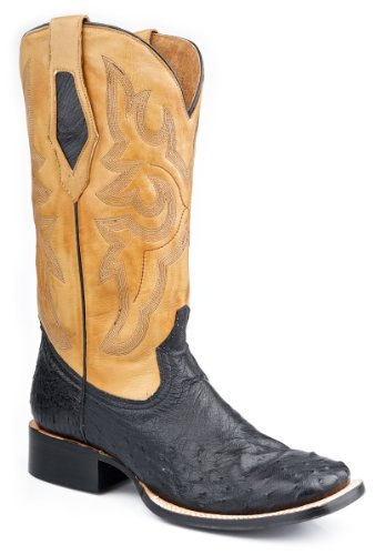 Roper Mens Exotische Zwarte Vierkante Teen Volledige Quill Struisvogelhuid Cowboy Laarzen 13 D