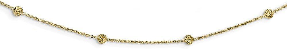 14k Yellow Gold Polished Diamond-cut Tiny Puffed Circles 15-Station Necklace