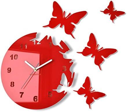 FLEXISTYLE Reloj de Pared Redondo Mariposas Rojo 30 cm habitacion de Salon Estilo Moderno 3D silencioso: Amazon.es: Hogar