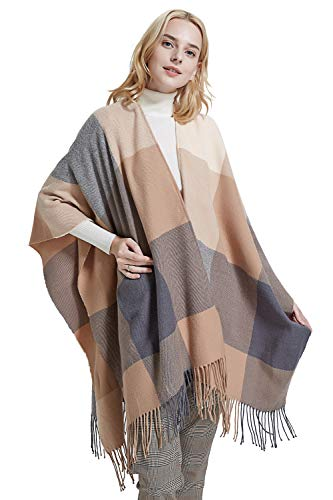 Women Poncho Shawl Cardigan Open Front Elegant Cape Wrap -