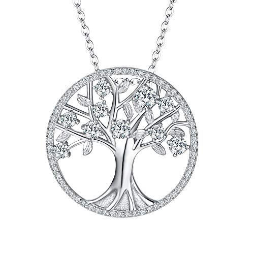 SIVLINE 925 Sterling Silver Necklace April Birthstone Jewelry Life of Tree CZ Pendant Necklace for Women Clear