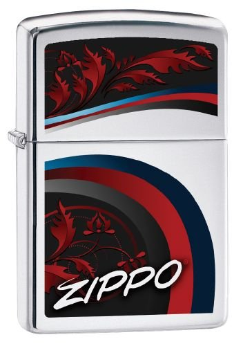 Zippo 250 60002496 PL Satin and Ribbons Petrol Lighter Chrome Finish, Brass, 1 x 3.5 x 5.5 cm