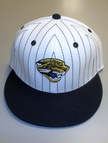 Reebok Jacksonville Jaguars White-Black Pinstripe Pro Shape Flat Bill Fitted Hat (7 ()