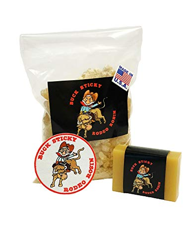 Buck Sticky Combo Pack (Gold Rosin, Buck Bar and Vest Patch) Rodeo Rosin - Bull Riding Gear - Enhances and Improves Riders Hand Grip - Rough Stock Event Riders