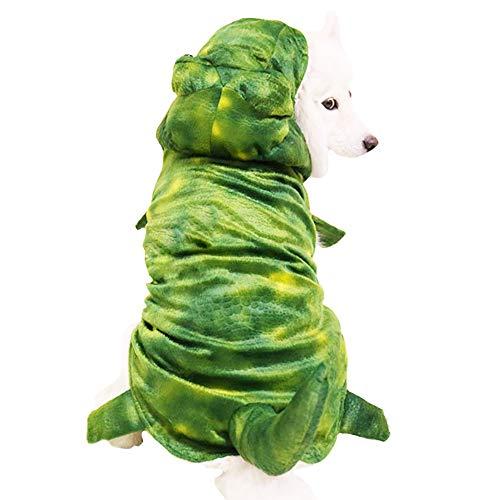 MUYAOPET Halloween Dinosaur Large Dog Costume Outfts Dog Winter Pet Coat Jacket for Bulldog (5XL, Green)]()