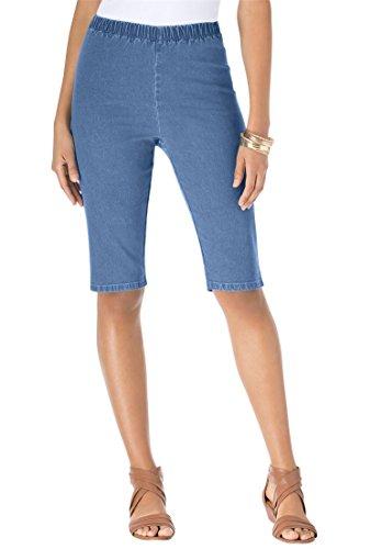 Women's Plus Size Stretch Denim Bermuda Shorts Medium Stonewash,12 W