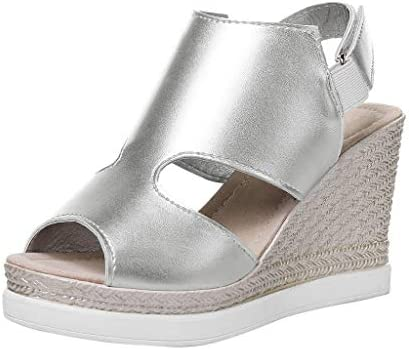 2941a0e2b5e Amazon.com  Women Espadrille Slide Sandal - Ladies Peep Toe Slip On High  Wedge Sandals with Slingback - Summer Beach Casual Outdoor Shoes  Beauty