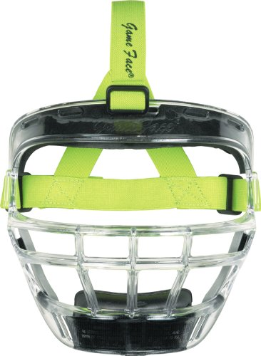 Markwort Game Face Sports Safety Mask (Clear with Lime Ponytail Harness, Large)