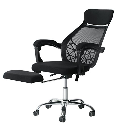 Ergonomic Reclining Office Chair – High-Back Desk Chair Racing Style with Lumbar Support – Height Adjustable Seat,Headrest- Breathable Mesh Back – Soft Foam Seat Cushion with Footrest by E EVERKING