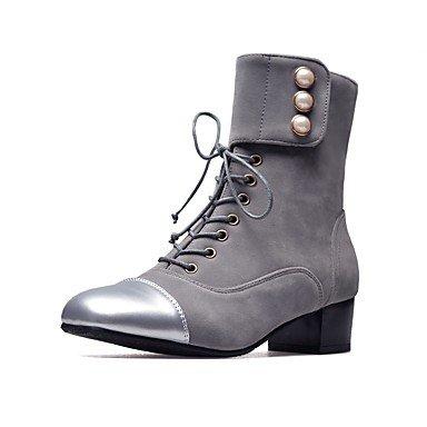 Otoño desy negro gris mujer redonda ergonómico para Invierno terciopelo perlas Botas de cordones punta cuadrado gris Zapatos pintura TxpxXZr