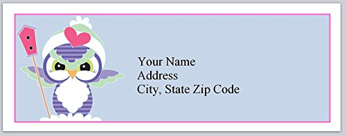 (120 Personalized Return Address Labels Lovable Owl with birdhouse (bx 256))