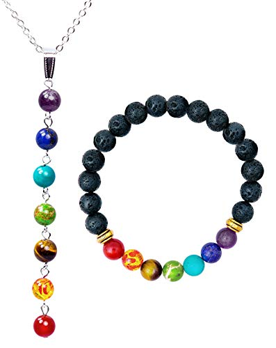 - 7 Chakra Healing Bracelet (7.25 in) and Necklace Set with Stones, Volcanic Lava, Mala Meditation Bracelet Set - Men's and Women's Religious Jewelry - Wrap, Stretch, Charm Bracelets