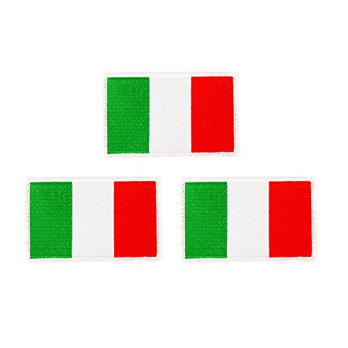 Italy Flag Patch Bulk 3-Pack 3.5Wx2.25H State Iron On Sew Embroidered Tactical Morale Back Pack Hat Bags Italian (3-Pack Patch)