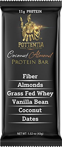 Pottentia Grass Fed Whey Protein Bar, Coconut Almond, Simple Natural Ingredients, Eight 43g Bars, Prebiotic Fiber, Gluten Free, Non GMO, No Sugar Alcohol Review